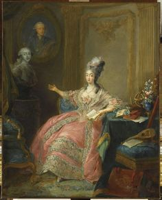 Marie-Joséphine de Savoie (1753-1810), comtesse de Provence. Jean-Baptiste-André Gautier-Dagoty (French, 1740-1786). Oil on canvas. Versailles, National Museum of the Palaces of Versailles and Trianon. Marie-Joséphine pointing to a bust of her husband, King Louis XVIII of France, with a portrait of her father, Victor Amadeus III of Sardinia, while reading and with a mandolin and music set aside.