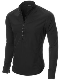 MODERNO Mens Mao Collar Casual Shirt (MOD1431LS) Black