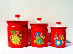 Vintage 1960s Kromex Aluminum Canister Set Red with Daisy Flowers Vintage Kitchen Retro Camper Mid Century Mod