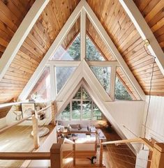 A Frame House Plans, A Frame Cabin, Tiny House Cabin, Cabin Homes, Tiny Houses, Triangle House, Casa Patio, Cabin Interiors, Cabin Design