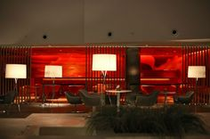 Radisson Hotel Lobby Utilises Red Lighting