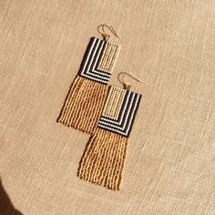 """These fringe earrings are made with Japanese Delica beads, and are roughly 1.25""""wide, and 3"""" long. Ear wires and findings are 14k gold.... #earringshandmade"""