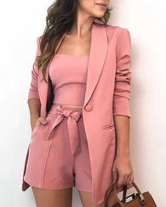 Blazer And Shorts, Blazer Outfits, Shirt Skirt, Lace Shorts, Classy Outfits, Chic Outfits, Pink Outfits, Trend Fashion, Womens Fashion