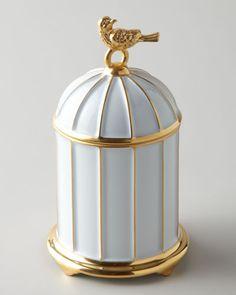 L'objet Birdcage, scented candle, white Limoges porcelain with hand-gilded 24-kt gold
