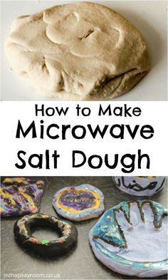 Microwave Salt Dough - In The Playroom - - How to make salt dough. This microwave salt dough is a really quick and easy alternative to the traditional method. Use it to make salt dough ornaments. Salt Dough Projects, Salt Dough Crafts, Slime, Fun Crafts, Crafts For Kids, Kids Diy, Clay Crafts, Children Crafts, Diy Clay