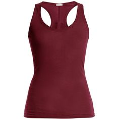 Skin Cotton-jersey tank top (853.680 IDR) ❤ liked on Polyvore featuring intimates, burgundy, long slip, racerback slip and cotton jersey