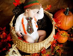 Fall Thanksgiving Baby Boy tie onesie with Suspenders and Visor Crocheted Hat