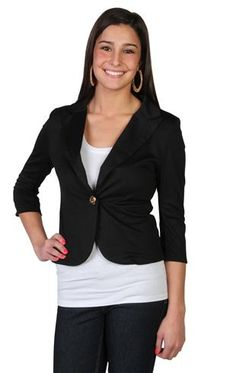 cropped blazer with gold buttons