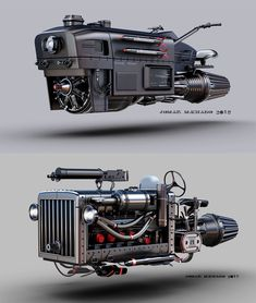 Two vehicles inspired by Dune, Blade Runner and Mad Max movies. Hover Car, Hover Bike, Spaceship Interior, Spaceship Design, Steampunk Armor, Black Widow Avengers, Iron Man Armor, Futuristic Cars, Futuristic Motorcycle