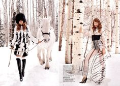 November issue of Harper's Bazaar US, Entitled 'All Wrapped Up', this editorial features Eniko Mihalik and was shot by Terry Richardson in the snowy Utah wilderness.