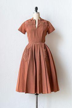 vintage 1950s rust silk pleat pocket dress  - Adored Vintage