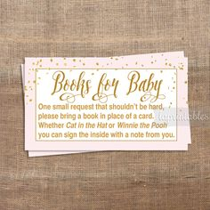 Pink Baby Shower Book Request, Printable Pink & Gold Confetti Invite Insert, Baby Girl, Books for Baby, INSTANT DOWNLOAD by laprintables on Etsy https://www.etsy.com/listing/235137323/pink-baby-shower-book-request-printable