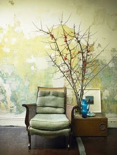 weathered wall and vintage chair