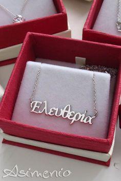 Κολιέ με ονόματα... τα αγαπημένα μας κοσμήματα! Από ασήμι 925, διαθέσιμα σε όλα τα χρώματα..ασημί, επίχρυσο και ροζ χρυσό! . . Δωρεάν Μεταφορικά σε όλη την Ελλάδα! Τηλ. 2310531382 . #asimenio #asimenio_gr #jewellery #jewelry #kosmimata #personalized #names #κοσμήματα #ονοματα #ονομα #ονόματα #ελευθερία #Ράνια #μονοπετρο #μονόπετρα #κρεμαστα #μενταγιόν #θεσσαλονικη #θεσσαλονίκη #δωρεανμεταφορικα #δώρο #πάσχα Bags, Handbags, Taschen, Purse, Purses, Bag, Totes, Pocket