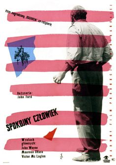 Vintage movie poster 1959 by Jerzy Flisak: Spokojny czlowiek (The Quiet Man)