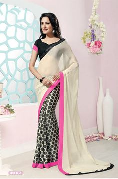 Off Whit eAnd Black Color Georgette Occasion Wear Sarees : Riyanshi Collection Latest Sarees, Chiffon Saree, Party Wear Sarees, Print Chiffon, Occasion Wear, Indian Outfits, Indian Fashion, Desi, Blouse