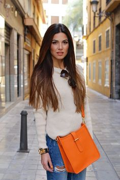 Valencia Day 1 with GiGi New York — Negin Mirsalehi Business Casual Outfits, Chic Outfits, Girly Outfits, White Flare Pants, Orange Handbag, Orange Purse, Negin Mirsalehi, Layering Outfits, Hermes Handbags