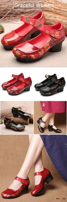 US$34.99 + Free shipping. Size: 5~9. Color: Black, Red. Fall in love with fashion and elegant style! SOCOFY Printing Hook Loop Mid Heel Round Toe Retro Casual Shoes.