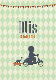 Geboortekaartje Otis - Pimpelpluis - https://www.facebook.com/pages/Pimpelpluis/188675421305550?ref=hl (# jongen - vespa - brommer - dino - vlaggetjes - ruitjes - vintage - retro - silhouet - lief - origineel)