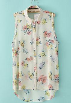 #SheInside Beige Sleeveless Rose Florals Dip Hem Chiffon Blouse - Sheinside.com