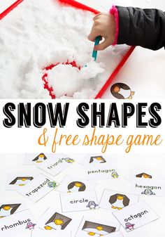 Bring some snow inside for math time and build snow shapes with this fun free printable penguin shape game! Teachers will love having this resource for a fun learning game! And the best part about it is....it's FREE! #snowactivities #mathgame #2dshapes #mathcenters #sensorylearning #sensory #wintersensory #preschool #kindergarten