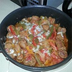 Daddy's Sausage and Peppers - This was ridic! Used 4 Pepper Summer Sausage and a red and yellow pepper. Used fire roasted tomatoes. Deglazed the pan with a bit of beer and again with red wine. So good with a bit of good parm.