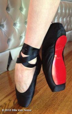 Custom Christian Louboutin Ballet Shoes for Dita von Teese