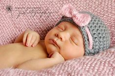 Baby Girl Hat Newborn Girl Hat Photography Prop Knit Crochet Beanie Photo Prop Infant Girl Grey Pink Soft Elegant