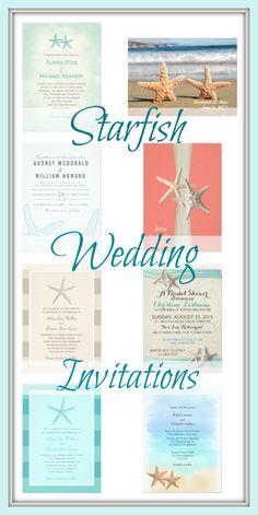 Starfish Wedding Invitations for a beach or destination wedding.  Unique personalized starfish wedding invitation templates.  Printing on  both the front and the back.  #starfishwedding