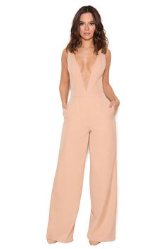 Clothing : Jumpsuits : 'Marwa' Blush Deep V Wide Leg Jumpsuit