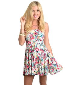 1753e067eb 2LUV Women s Floral Box Pleated Cocktail Dress Pink  amp  White S(D1023)  2LUV