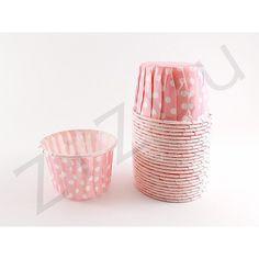 Confezione da 25 pirottini tondi a pois di carta con diametro base di 4,4 cm e top di 5,5 cm
