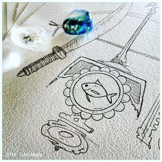 """Desenhando arte encomendada! """"OGUM & IEMANJÁ"""". Encomendas/orçamentos através do e-mail: notovic@gmail.com"""