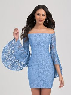 Val Stefani Cocktail 3361RE all-lace bohemian short sheath dress with off-the-shoulder neckline and long bell sleeves