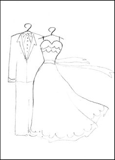 free printable wedding dress and suit coloring page