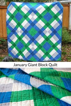 January Giant Block Quilt with a link to the tutorial