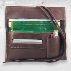 Leather tobacco pouch Brown Velvet with lighter pouch