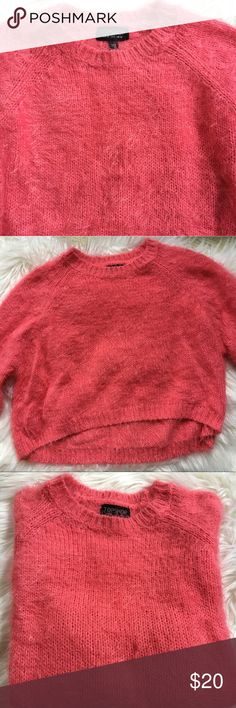 Topshop Cropped Sweater Pink fuzzy cropped Topshop sweater Topshop Tops
