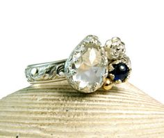 White Topaz Natural Blue Sapphire Ring by TazziesCustomJewelry