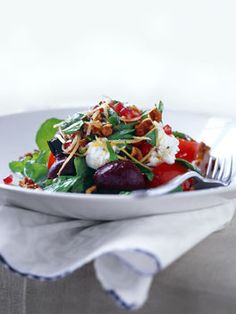 Roast beetroot salad with goat's curd, pomegranate and preserved lemon