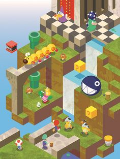 Isometric Mario brothers | Super Mario Bros., chain chomp, goomba, video game, nintendo