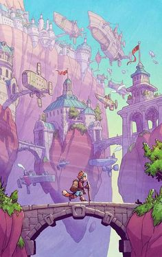 Jake Parker is raising funds for SkyHeart Book I: The Star Seed on Kickstarter! An all-ages fantasy-adventure graphic novel. Environment Concept Art, Environment Design, Art And Illustration, Fantasy Kunst, Fantasy Art, Character Art, Character Design, Visual Development, Fantasy Landscape