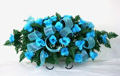 Beautiful Turquoise Roses Silk Flower Cemetery Tombstone Saddle with Deco Mesh R #Crazyboutdeco