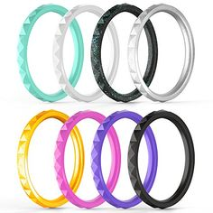 ThunderFit Thin and Stackable Silicone Rings, 8 Pack & Singles Silicone Wedding Bands for Women - Diamond Pattern #diamondweddingbands