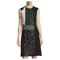Derek Lam Sleeveless Lace-Panel Dress, Green/Gray (84,520 INR) ❤ liked on Polyvore featuring dresses, grey dresses, sleeveless lace dress, green dress, grey lace dresses and lace dress