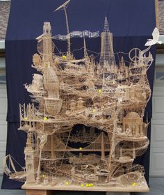 100,000 toothpicks. 35 years. 1 man. 'Rolling through the bay' by Scott Weaver via #InspirationFeed