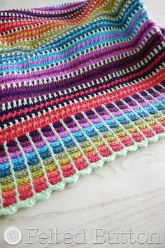 Skittles Blanket FREE crochet pattern by Felted Button