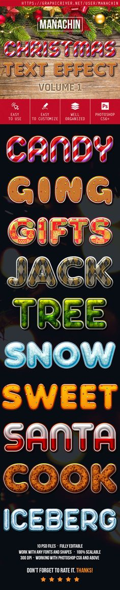 One Click Premium Christmas Text Effects Vol.1