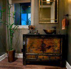 un bambou décoratif dans la salle de bains