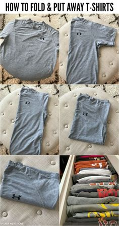 Drawer Organization Shirts - How To Fold & Organize TShirts Household Organization, Book Organization, Organization Ideas, T Shirt Storage, Hemnes Drawers, Diy Clothes Life Hacks, Declutter Your Home, Getting Organized, Planer